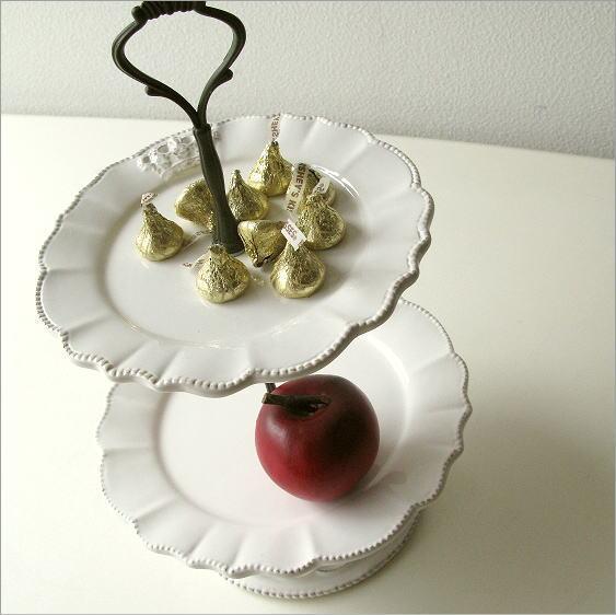 陶器の2段デザートプレート [hal9031]