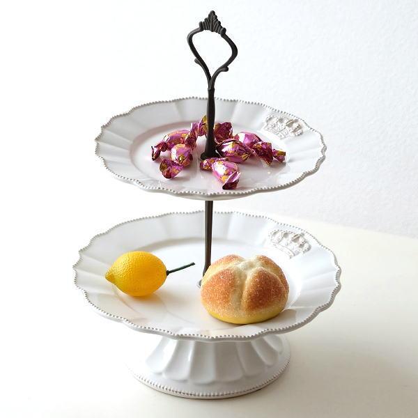 ケーキスタンド 2段 陶器 ケーキプレート ケーキ皿 洋食器 アクセサリートレイ 陶器の2段デザートプレート [hal9031]