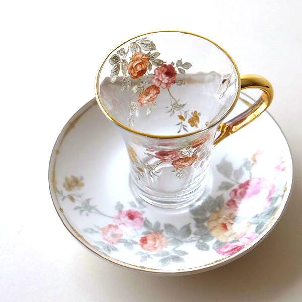 カップ&ソーサー 磁器 ガラス おしゃれ アンティーク エレガント クラシック かわいい カフェ コーヒーカップ ソーサー セット ガラスのC&S ローズ [hal9173]