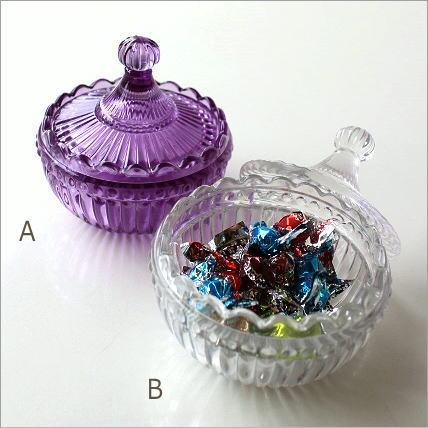 ガラスキャニスター 小物入れ おしゃれ キャンディ アクセサリー入れ ガラスのラウンドキャニスター 2カラー