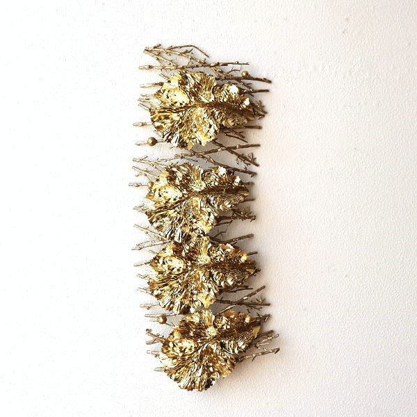 壁飾り ウォールデコ おしゃれ ゴールド 壁掛け インテリア 自然 植物 ナチュラル ゴールドリーフ&ツウィグデコ [hal9417]