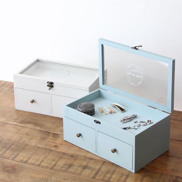 アクセサリーケース 木製 ガラス 小物入れ かわいい 可愛い おしゃれ ジュエリーケース ジュエリーボックス 卓上 引き出し付きクリアケース 2カラー [hbr1662]
