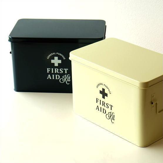 救急箱 おしゃれ かわいい インテリア 薬箱 薬入れ スチール ボックス 収納 小物入れ ふた付き 工具箱 整理ボックス 小物収納 フェールエイドボックス 2カラー