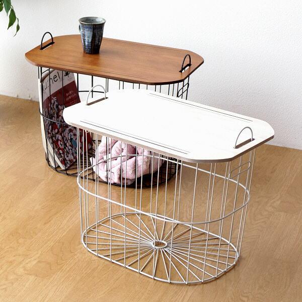 バスケット テーブル ウッド調 天板 おしゃれ かわいい アイアン 収納 化粧合板 かご 簡易テーブル オーバルバスケットテーブル 2カラー [hbr5574]
