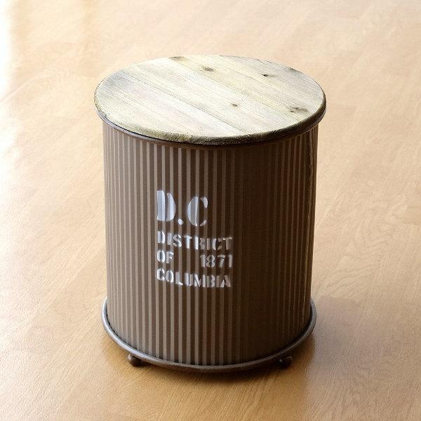 収納ボックス 缶ボックス お片付け おもちゃ 小物入れ ふた付き テーブル おしゃれ レトロ インダストリアル ウッドトップのアイアンボックスBR [hbr6639]