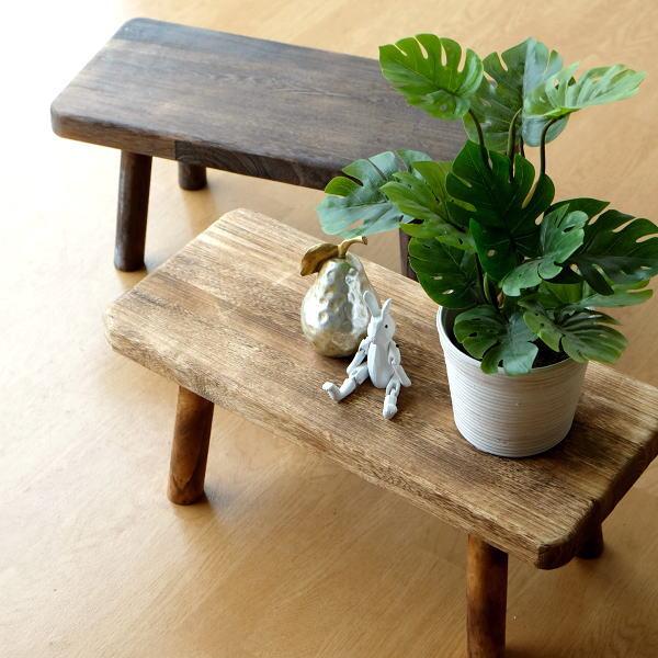 花台 フラワースタンド 木製 おしゃれ ナチュラル 天然木 桐 花置き テーブル ベンチ デザイン 観葉植物 鉢スタンド 鉢置き台 ウッドスクエアスタンドL 2カラー [hbr6740]