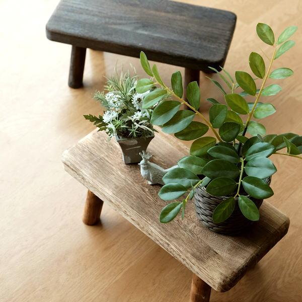 花台 フラワースタンド 木製 おしゃれ ナチュラル 天然木 桐 花置き テーブル ベンチ デザイン 観葉植物 鉢スタンド 鉢置き台 ウッドスクエアスタンドS 2カラー [hbr6765]