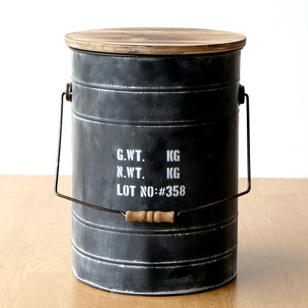 スツール 収納 おしゃれ アイアン 木製 ボックススツール ドラム缶 レトロ アンティーク シャビー デザイン コンパクト 円形 丸 スチールBOXスツール BK [hbr6769]