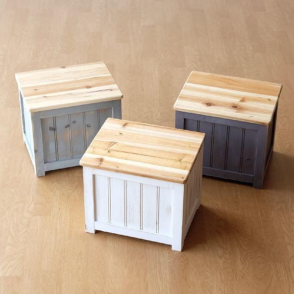 スツール 収納 木製 アンティーク 木箱 玄関椅子 サイドテーブル 軽量 軽い おもちゃ 収納 お片付け コンパクト シャビーなボックススツール 3カラー [hbr6941]