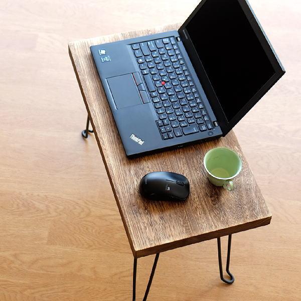 ローテーブル 折りたたみ 木製 アイアン 天然木 長方形 座卓 コンパクト ブラウン ウッド折り畳みテーブル スクエア [hbr7277]