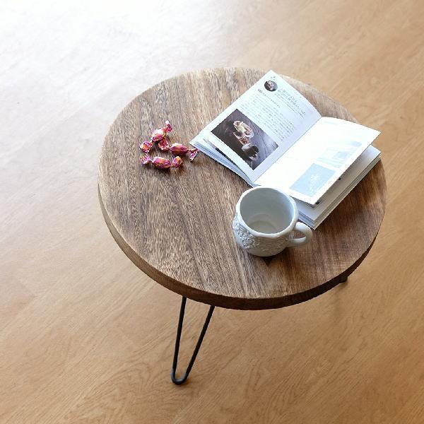 ちゃぶ台 折りたたみ 丸テーブル ローテーブル 木製 アイアン 天然木 幅50cm 丸型 円形 座卓 円卓 コンパクト ブラウン ウッド折り畳みテーブル ラウンド [hbr8264]