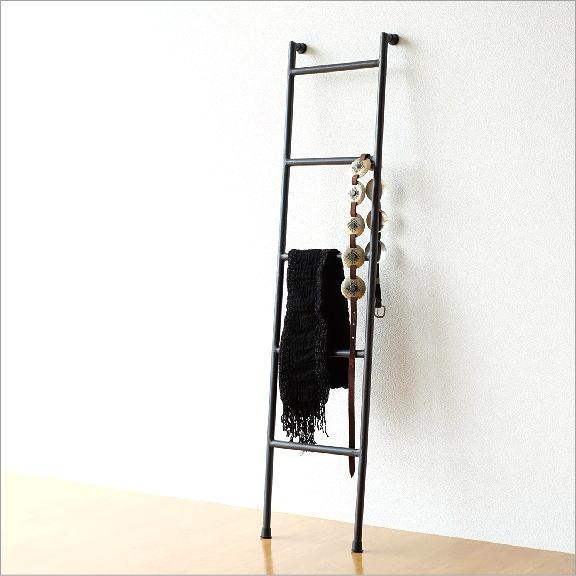 ラダーハンガー 立て掛け アイアン ラダーラック ラダーシェルフ おしゃれ シンプル 壁面 インテリア はしご 小物掛け 見せる収納 アイアンのハンガーラダー
