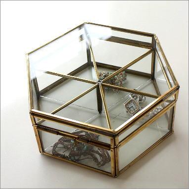 ガラスケース 小物入れ アクセサリーケース ジュエリーケース ガラスのフラップボックスB