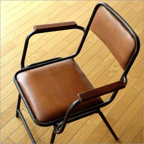 レザーチェア 肘掛け椅子 本革 一人掛け 一人用 デスクチェア おしゃれ レトロ モダン カフェ アイアンと革のアームチェアー【送料無料】