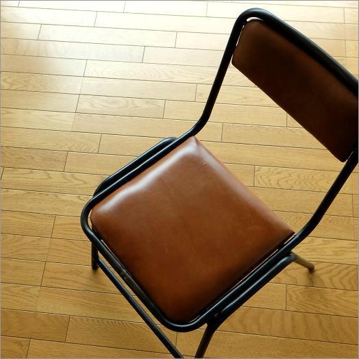 レザーチェア 椅子 本革 一人掛け 一人用 デスクチェア おしゃれ レトロ モダン カフェ アイアンと革のチェアー【送料無料】