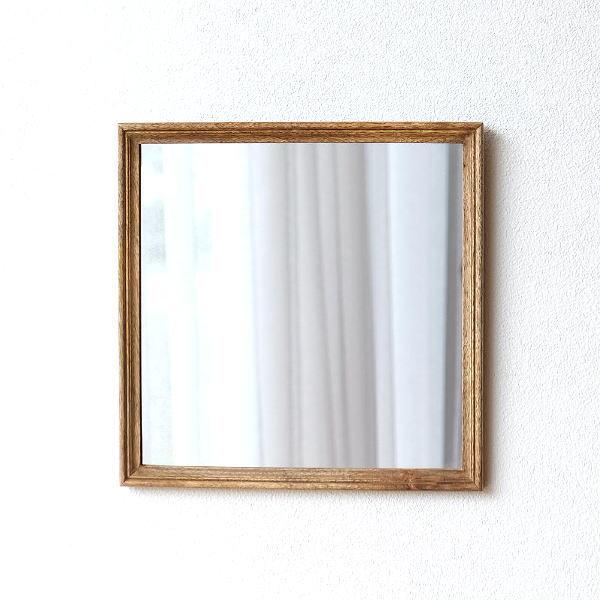 鏡 壁掛けミラー おしゃれ ウォールミラー 木製 天然木 四角 正方形 シンプル ナチュラル レトロなウッドフレームミラー [hda6831]
