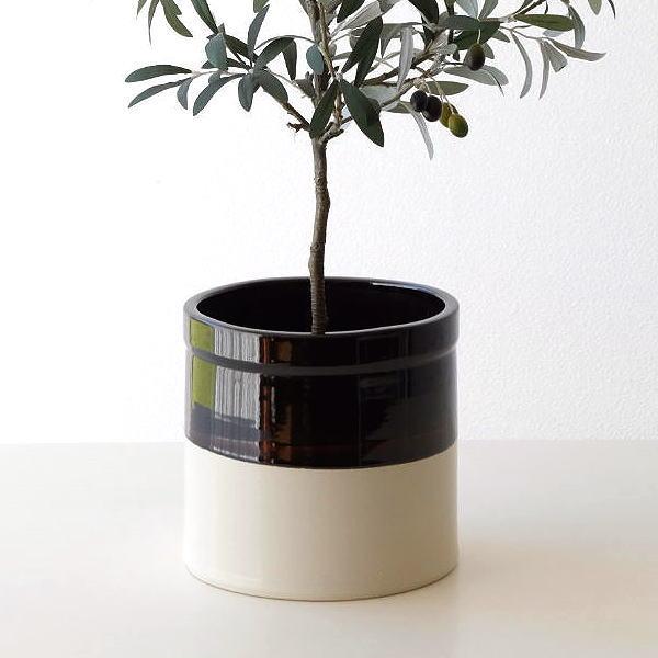 鉢カバー おしゃれ 陶器 フラワーポット 陶器のバイカラー鉢ポット [hda9412]