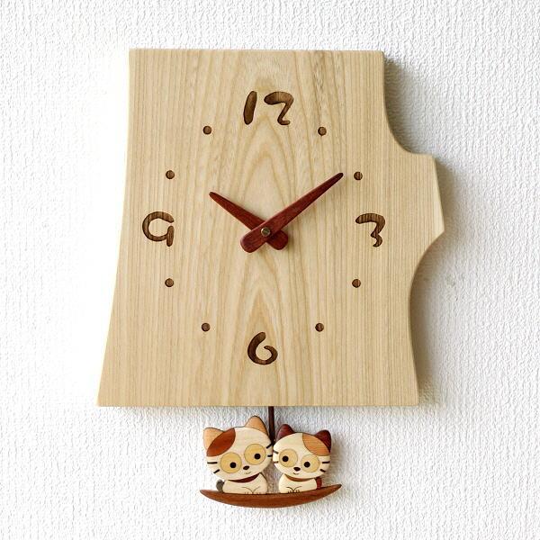壁掛け時計 壁掛時計 掛け時計 掛時計 おしゃれ ねこ 振り子 天然木 木製 ウォールクロック木の振り子時計 ねこ 【送料無料】 [hkp2764]