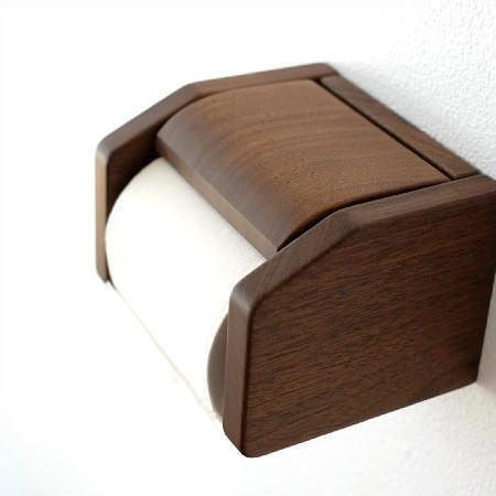 ワンタッチ式のウォールナット無垢材トイレットペーパーホルダー 日本製