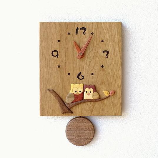 振り子時計 壁掛け おしゃれ 木製 日本製 手作り 天然木 無垢材 ふくろう かわいい 木の振り子時計 スクエア【送料無料】