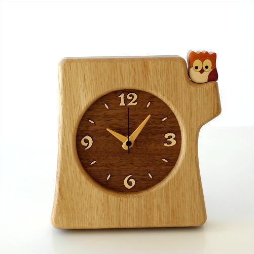 置時計 おしゃれ 木製 日本製 手作り 天然木 無垢材 ふくろう かわいい 木の掛け置き時計 フクロウ