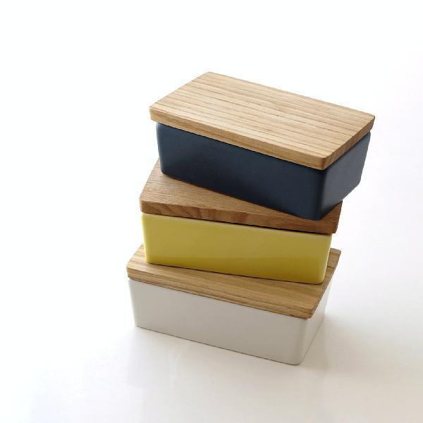 バターケース 陶器 おしゃれ 木製 木の蓋 モダン 陶器のバターケース3カラー [ibk3185]
