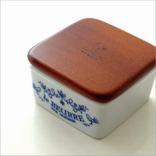 バターケース ハーフサイズ 磁器 木製 おしゃれ 可愛い ナチュラル 北欧 アンティーク 木の蓋 白 ホワイト 日本製 磁器のハーフサイズバターケース [ibk3618]