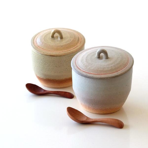 塩入れ ソルトポット 容器 陶器 おしゃれ 天然木 スプーン付き 日本製 陶器の塩入れ 2カラー [ibk7346]