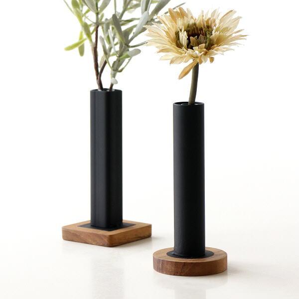 フラワースタンド 花瓶 おしゃれ フラワーベース アイアン ロング アイアンとウッドのスリムなフラワーべース 2タイプ [ify0199]