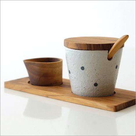 シュガーポット クリーマー セット 木製 チーク 陶器 おしゃれ シンプル ナチュラル かわいい 和風 モダン 北欧 デザイン シュガーポット5点セット A