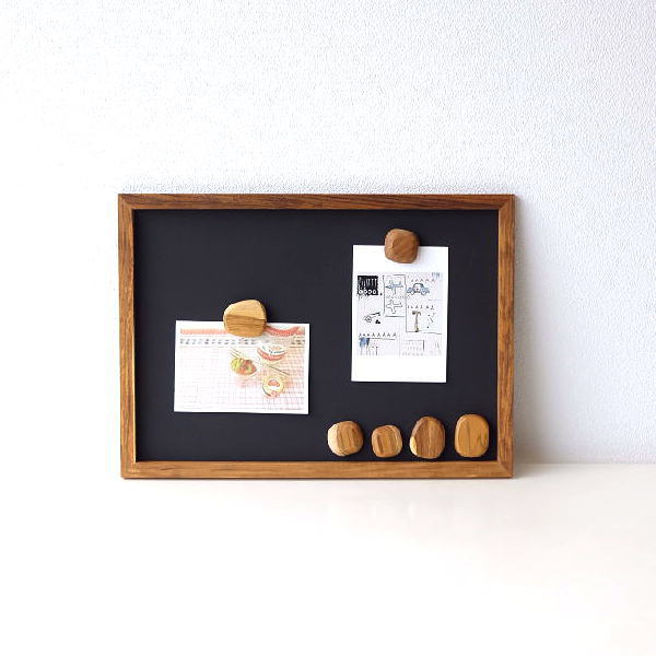 マグネットボード A3 木製 おしゃれ 立て掛け 掲示板 ウッド 木枠 案内板 伝言板 チークマグネットボードA3 マグネット付き [ify5829]
