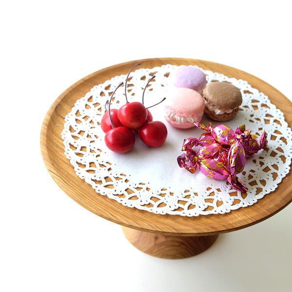 ケーキスタンド 木製 一段 おしゃれ 天然木 チーク ケーキ皿 ケーキプレート ディスプレイ 台 チークウッドケーキスタンド [ify6686]