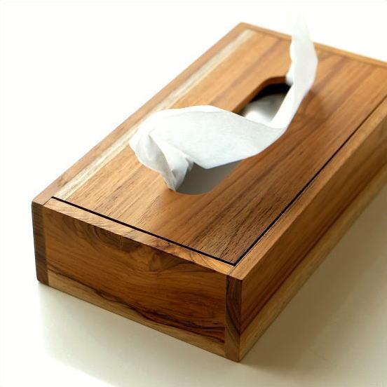 ティッシュケース 木製 おしゃれ 無垢 チーク薄型ティッシュケース [ify7699]