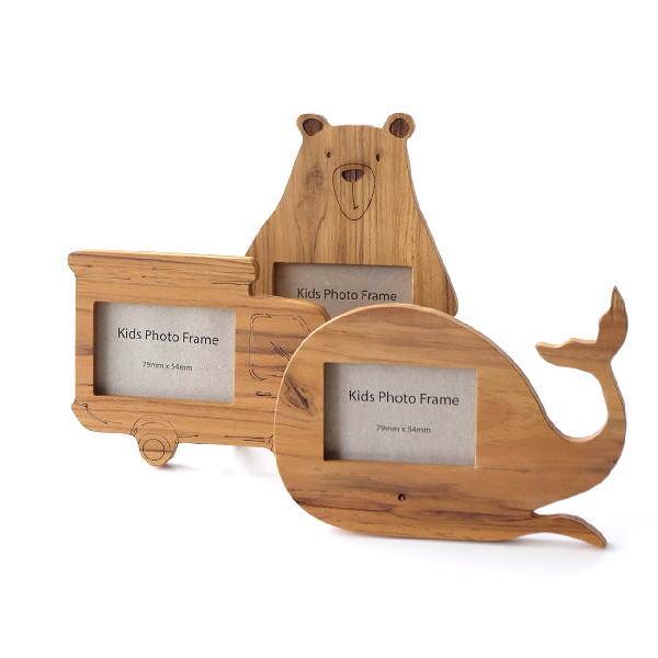 フォトフレーム 写真立て 木製 かわいい チーク 天然木 木目 クマ トラック クジラ チークウッドキッズフレーム 3タイプ [ify8271]