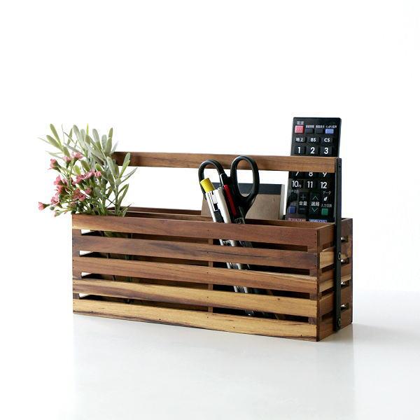 小物入れ 木製 チーク アイアン おしゃれ 整理ボックス リモコンラック A4 卓上 収納 ラック 小物整理 アイアンとウッドのツールボックス 04 [ify8859]
