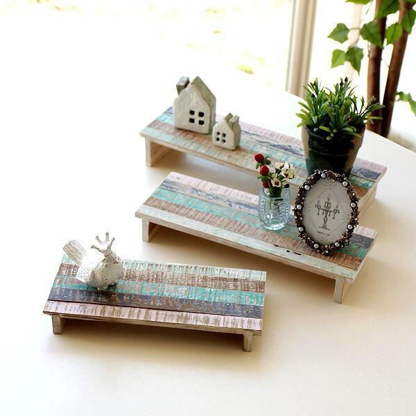 ディスプレイスタンド チーク 木製 卓上 机上 棚 小物 トレー 飾り台 ディスプレイスタンド3サイズセット [ify9570]