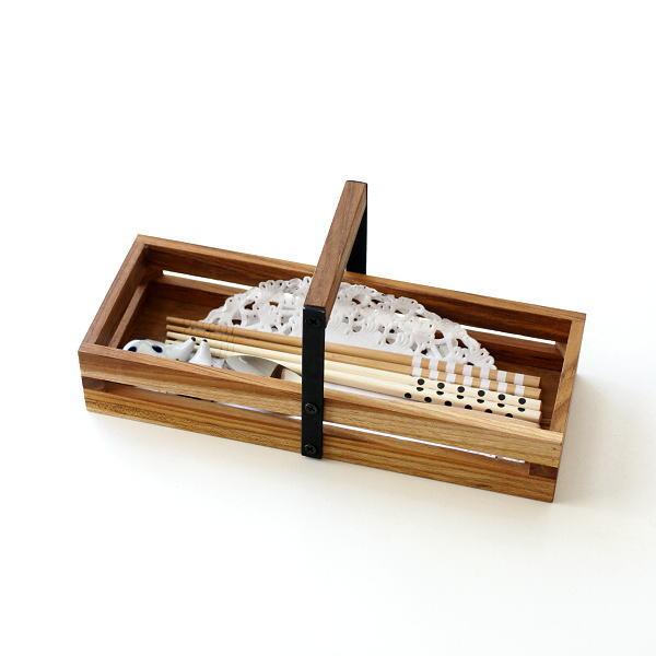 小物入れ 木製 チーク アイアン おしゃれ 整理ボックス カトラリーケース スパイスラック 卓上 収納 ラック アイアンとウッドのツールボックス 08 [ify9586]