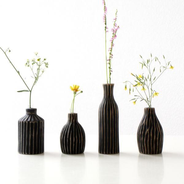 花瓶 フラワーベース 木製 チーク 小さい おしゃれ 花器 一輪挿し ウッドベース かわいい ウッドフラワーベースミニ BK4タイプ[ify9660]