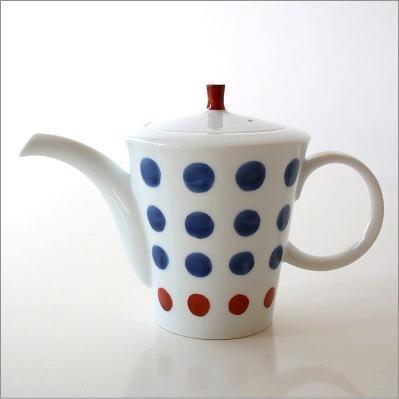 ティーポット おしゃれ 陶器 かわいい お茶 紅茶 白 水玉 ドット デザイン 茶こし付き 有田焼 みずたまティーポット [imt8964]