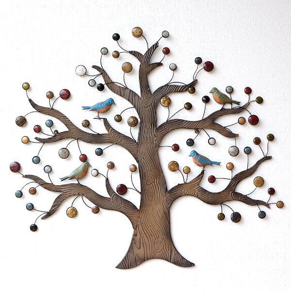 壁飾り アイアン 陶器 壁掛け インテリア 木 アートパネル ウォールデコレーション おしゃれ かわいい ウォールパネル アイアンの壁飾り カラフルツリー 【送料無料】 [itn0444]