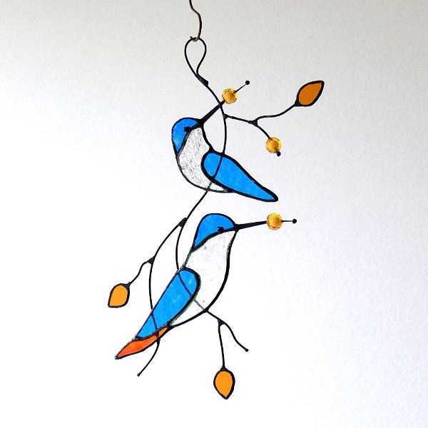 ステンドグラスバードの壁飾り [itn0700]