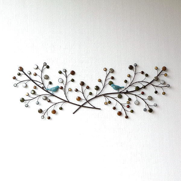 壁飾り アイアン 陶器 壁掛け おしゃれ ブルーバード インテリア 花 アートパネル アイアンの壁飾り 陶器のブランチonバード [itn5072]