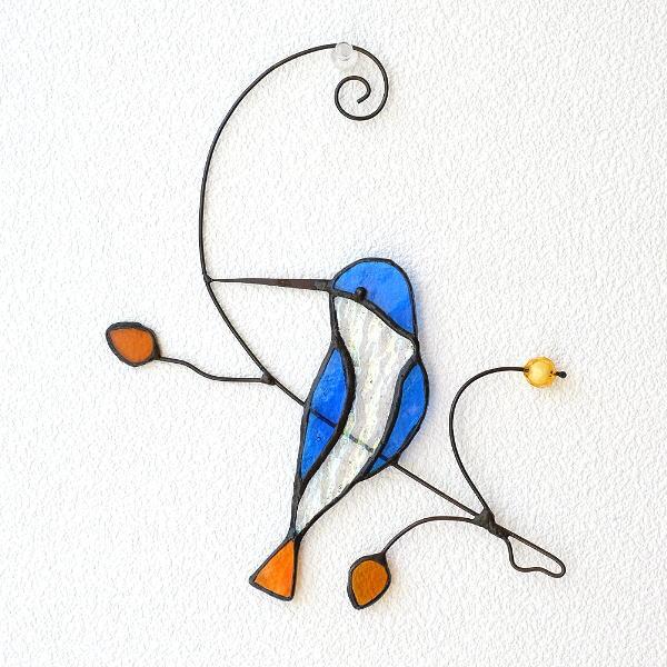 ステンドグラス 壁掛け インテリア 壁飾り 鳥 雑貨 かわいい オーナメント ウォールデコ ステンドグラスバードの壁飾り B [itn9491]