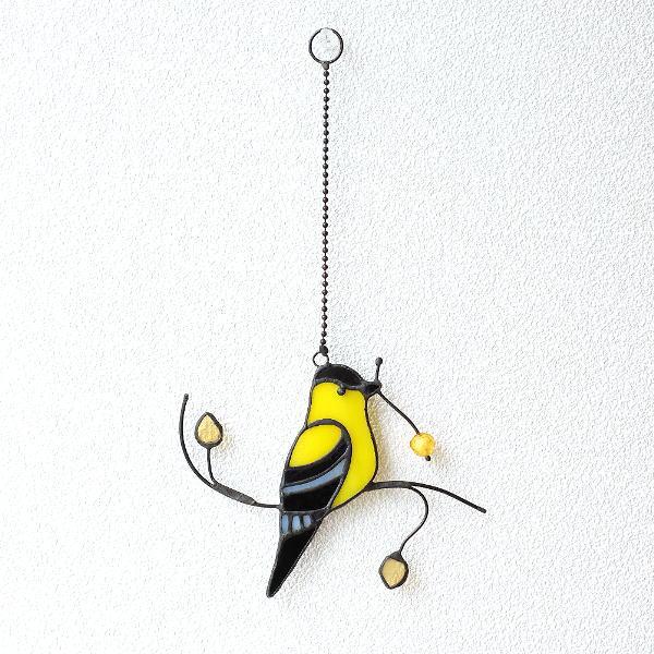 ステンドグラス 壁掛け インテリア 壁飾り 鳥 雑貨 かわいい オーナメント ウォールデコ ステンドグラスバードの壁飾り A [itn9846]