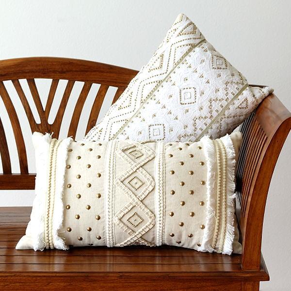 クッション 30×50 長方形 おしゃれ かわいい レクタングルビーズ刺繍クッション2タイプ [kan0245]
