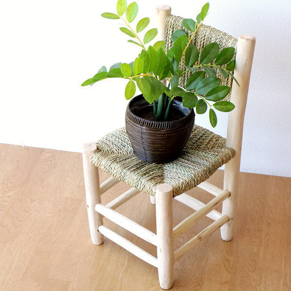 チェア 木製 小さい コンパクト 子供 椅子 背もたれ おしゃれ 四角 花台 鉢置き 低い ローチェア 玄関 ナチュラルミニチェアー L [kan0499]