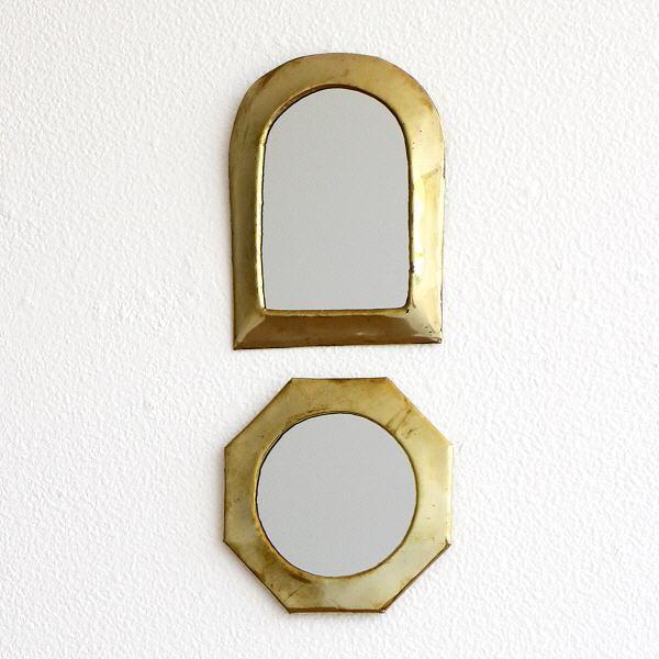 鏡 壁掛けミラー 真鍮 アンティーク レトロ ゴールド ウォールミラー 小さい コンパクト 真鍮の壁掛けミニミラー 2タイプ [kan0744]