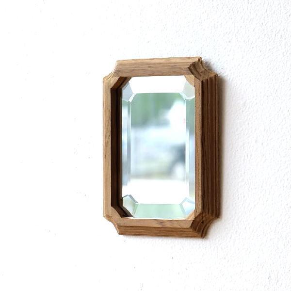 鏡 壁掛けミラー ウォールミラー おしゃれ 木製 チーク 天然木 木枠 シンプル ナチュラル 小さい コンパクト ナチュラルウッドのミラーフレーム S [kan0779]