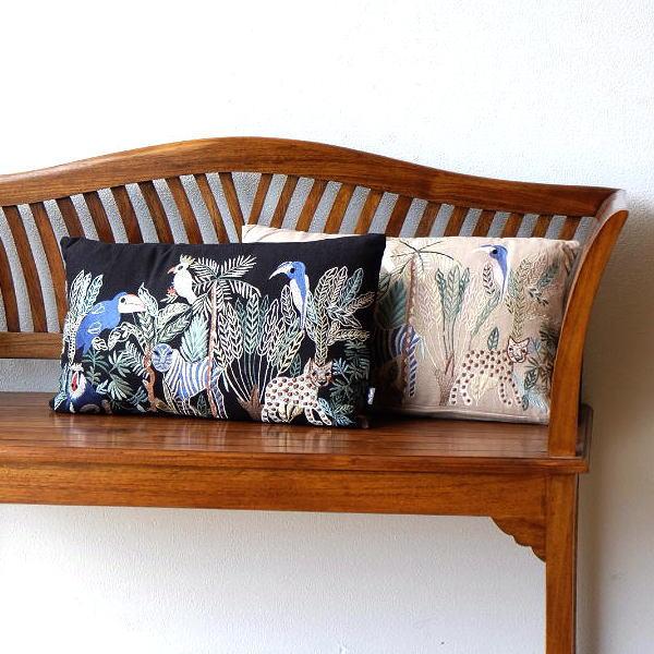 クッション 長方形 おしゃれ 30×50cm 刺繍 綿100% ファスナー付き ジャングル刺繍レクタングルクッション 2カラー [kan0786]