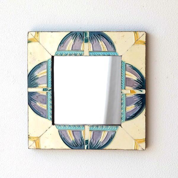 鏡 壁掛け アンティーク タイル おしゃれ ウォールミラー レトロ 四角 正方形 アンティークタイルフレームミラー A [kan0788]